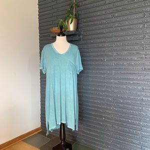 Lightweight distressed teal t-shirt dress